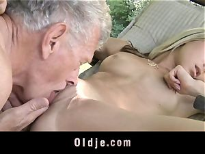 insane blond tempts aged guy to fuck
