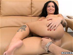 Smoking torrid dark haired Christy Mack railing boner