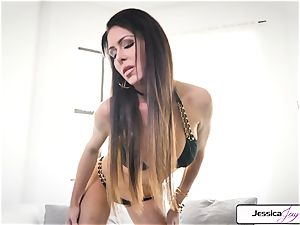 Jessica Jaymes flash you her immense bumpers and moist labia