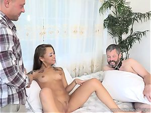 Holly Hendrix Cuckolds hubby and Makes Him eat spunk