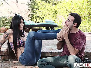 foot obsession outdoors sequence with super-cute Brenna Sparks