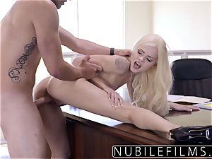 Elsa Jean Gives manager dirty oral job