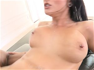 Creaming inwards stunning dark-haired Katrina Jade