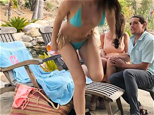 The Getaway Pt trio displaying mind-blowing lesbos Dillion Harper and Charlotte Stokely