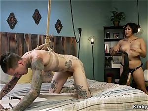 fellow in wire tears up enormous caboose domme