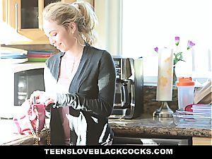 blond teenage gets a taste of large dark-hued spear