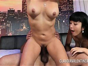 Claudia Valentine joins a couple for a 3 way