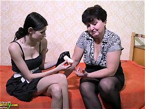 OldNanny mature female lovinТ girly-girl belt cock