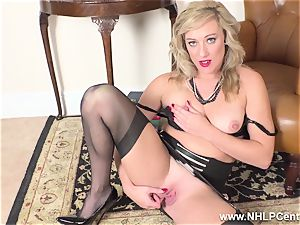 ash-blonde finger penetrates raw cunny in girdle antique nylons