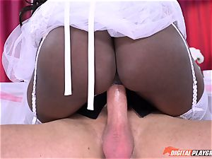 ebony beauty Diamond Jackson in her wedding sundress bashed nuts deep