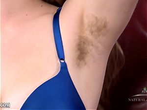 Apricot Pitts gropes her awesome hairy pubic hair for you