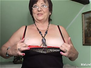 insatiable mature keeps her stocking on for boning