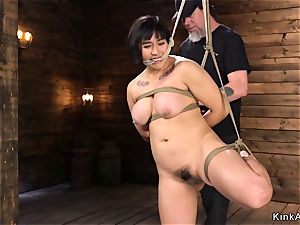 plump chesty chinese snatch toyed in frog-tie