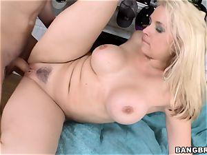 spectacular ash-blonde Sarah Vandella drilled doggystyle