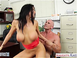 Office stunner in high high-heeled slippers Romi Rain plowing