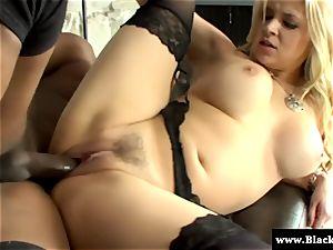 blond buxomy Sarah Vandella loves big black cock in this HD video