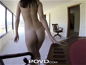 POVD disrobe poker leads nubile chicks into uber-sexy 3some
