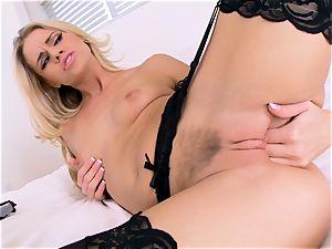 Jessa Rhodes jacks in wonderful ebony lingerie