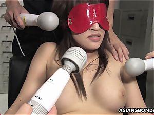 asian man rod deep-throater endures a group frolicking