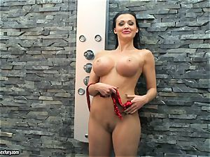 Aletta Ocean super-naughty nymph taking a douche nude