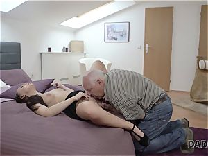 DADDY4K. daddy and youthfull woman sizzling fuckfest in bed culminates with creampie