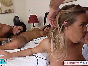 Lisa Ann, Nicole Ani and Jessica Jaymes kiss and share cock.