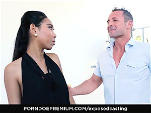 uncovered audition - asian stunner enjoys hot FFM 3some