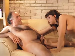 wooly Chested granddad pummels nubile With cock-squeezing muff