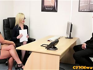 european CFNM female domination deepthroating beef whistle in office
