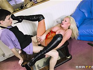 horny platinum-blonde Michelle Thorne drooling on my hefty penis